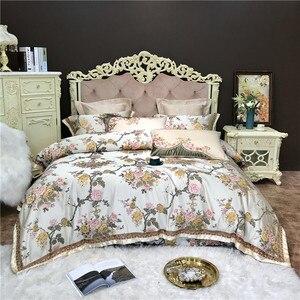 Image 1 - 4/6/10 sztuk King rozmiar Queen luksusowe ślubne królewskie komplety pościeli satynowa bawełna jedwabista miękka pościel narzuta zestaw poszewek