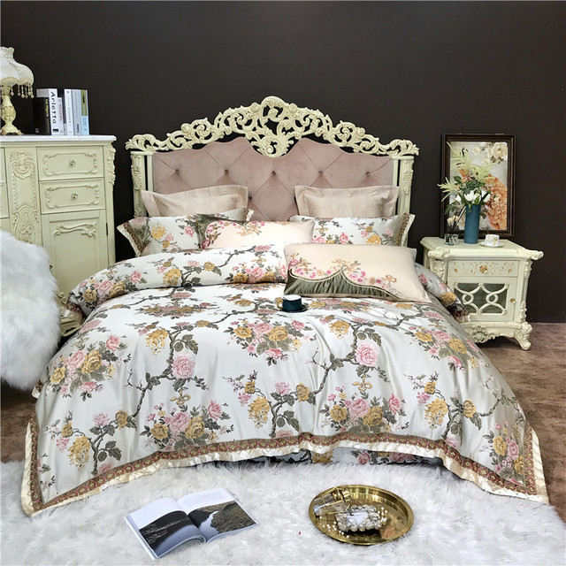 4/6/10Pieces King Queen size Luxury Wedding Royal Bedding Sets Satin Cotton Silky Soft Bedclothes Bedspread duvet Cover set