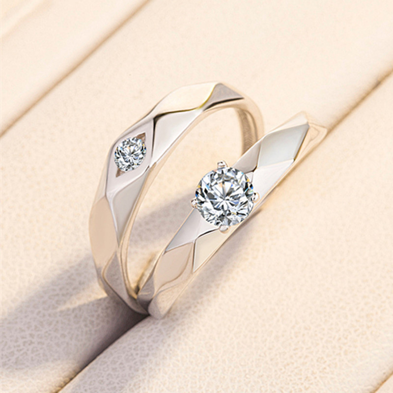 Boxed 925 Sterling Silver Resizable Zircon Couple Ring Fashion Statement Engagement Wedding Jewelry Love Gift For Couples