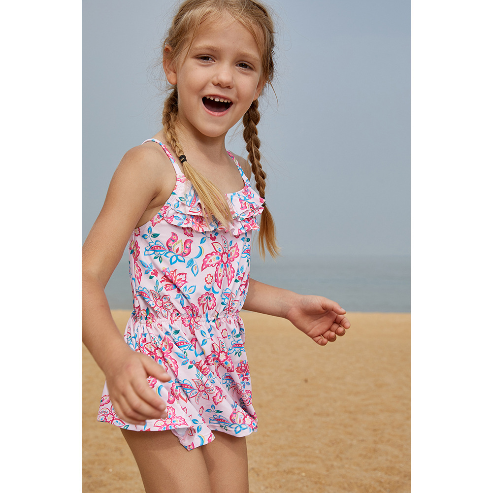 2019 New Style Europe And America Big Boy GIRL'S Skirt Two Pieces Swimwear Girls Printed Camisole Two-piece Swimsuits