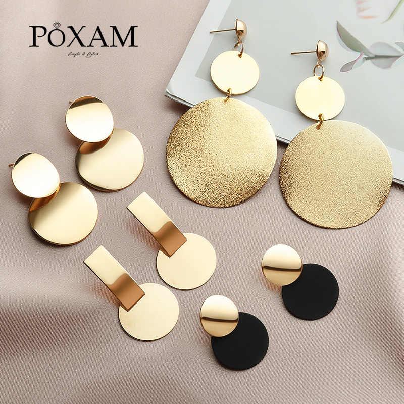 Koreaanse Verklaring Ronde Dangle Drop Oorbellen Voor Vrouwen 2019 Mode-sieraden Vintage Geometrische Ronde Pailletten Opknoping Gouden Oorbel