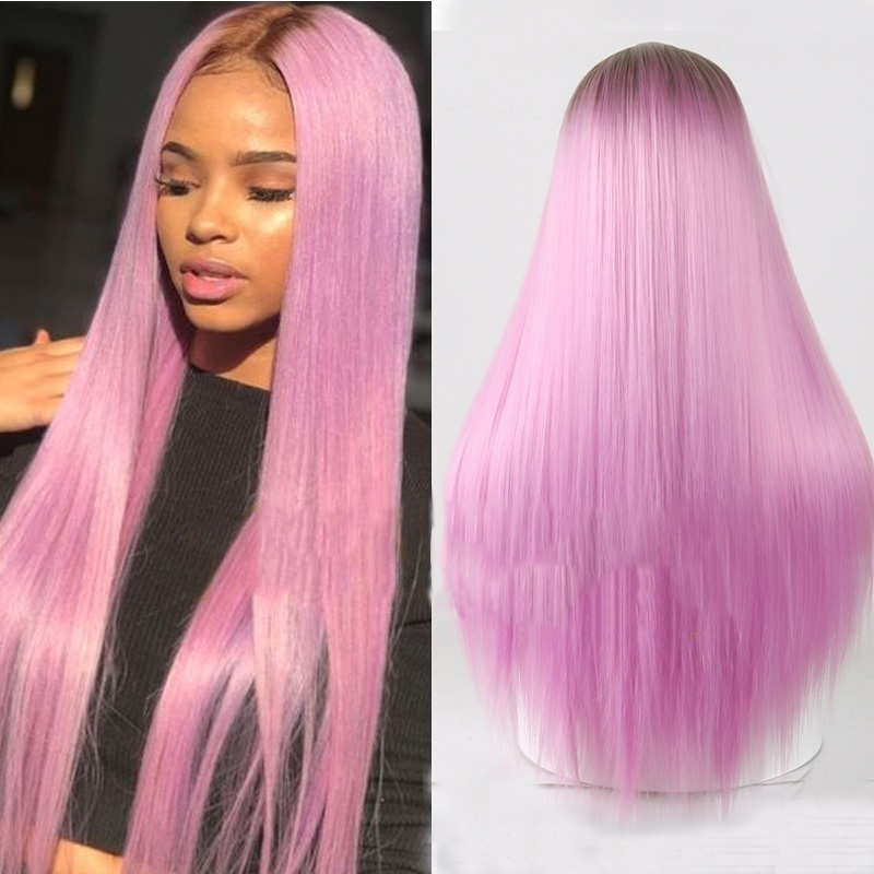H4e50eee9c5a74c069fc9468bece346f5D - Linghang Ombre Blue Straight Long Synthetic Wigs For Women Black Pink Wigs 24 inch 11 Color can be Cosplay Wigs