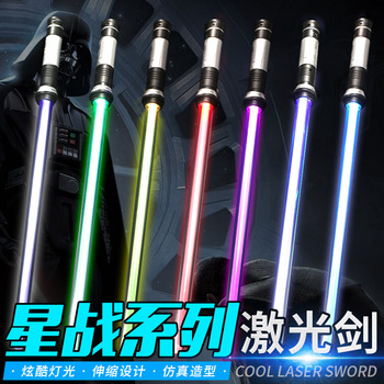 2pcs Star Wars Lightsaber Luminous Telescopic Toys Double-Sword Darth Vader Cosplay Props Laser Sword Christmas Gift for Kid