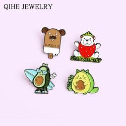 Novel Enamel Pins Strawberry Avocado Dog Dear Cartoon Brooches for Women Plant Animal Badge Lapel Pin Jewelry Gift Wholesale