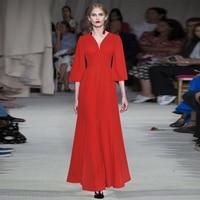 Vintage Elegant V Neck High Waist Long Maxi Dress Women High Quality Red Black Lady Formal Dresses Female Evening Gown Plus Size