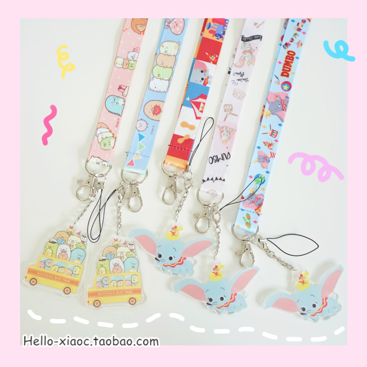 1PC Cartoon Acrylic Sumikko Dumbo Mobile Phone Straps Lanyard For Keys ID Card Gym DIY Hang Rope Lariat Lanyards