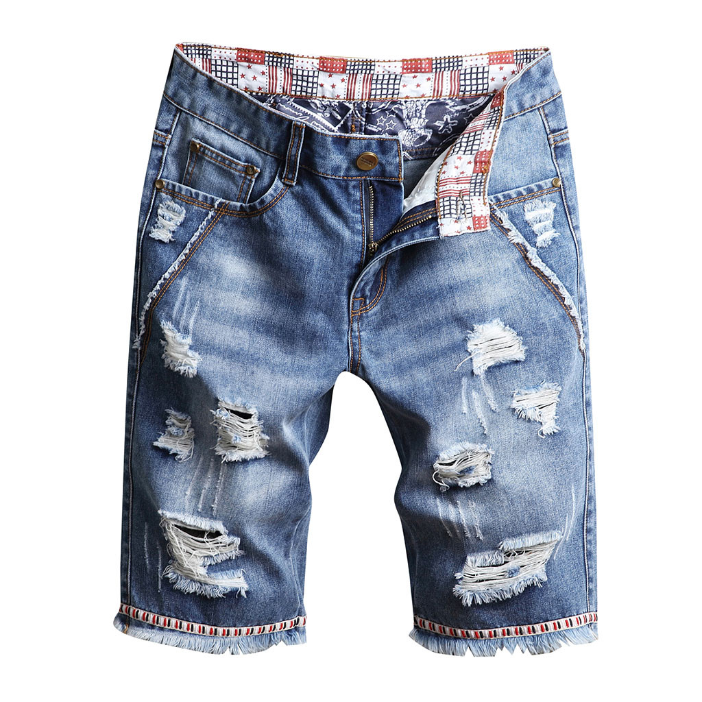New Fashion Mens Ripped Short  Loose Casual Broken Hole Jeans  Clothing Bermuda Summe  Breathable Denim Shorts Male 12.4