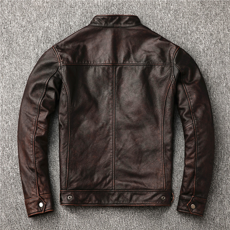 Free shipping classic motor style vintage genuine leather Jacket fashion men brown Leather coat street biker Classic motor style,vintage genuine leather Jacket,fashion men brown Leather coat,street biker coat,sales