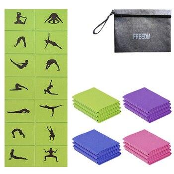 PVC esterilla plegable para Yoga Ejercicio de 4mm de espesor antideslizante plegable gimnasio Fitness Pilates Mat suministros estera de suelo juego con Yoga bolsa nueva