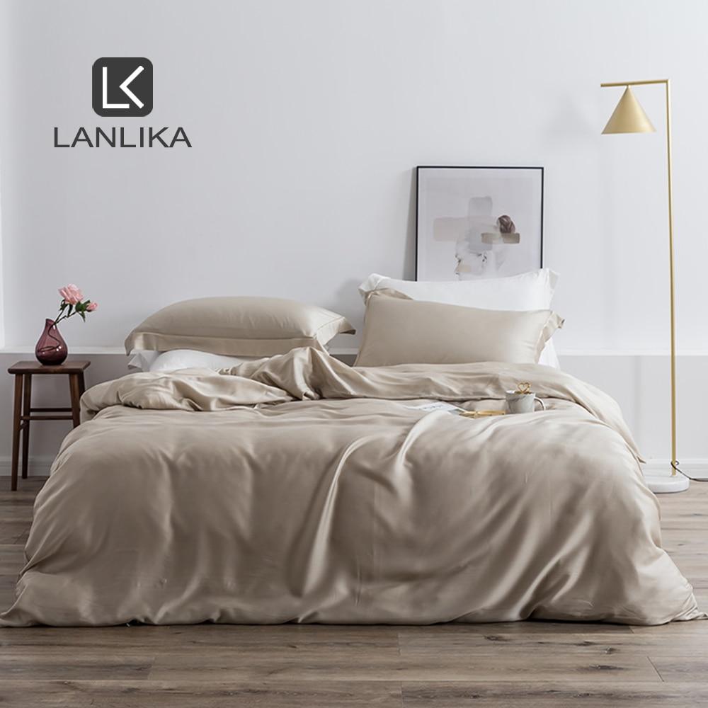Lanlika Luxury 100% Silk 25 Momme Silk Healthy Duvet Cover Euro Bedspread Home Textile Bedding Set Adult Kids Bed Linen Set