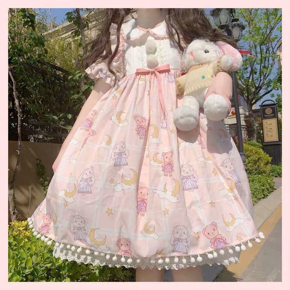 Lolita Summer Women's Dress For Girls 2021 Elegant Cartoon Print Short Sleeve Harajuku Dress Girls Kawaii Clothes Pink Loli