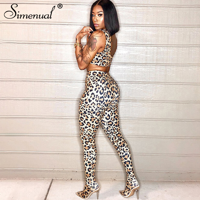 Simenual Leopard Zipper <font><b>Sexy</b></font> Fashion Co-ord Sets <font><b>Women</b></font> Sleeveless Fitness Sporty <font><b>2</b></font> <font><b>Piece</b></font> <font><b>Outfits</b></font> Workout Tank Top And <font><b>Pants</b></font> Set image