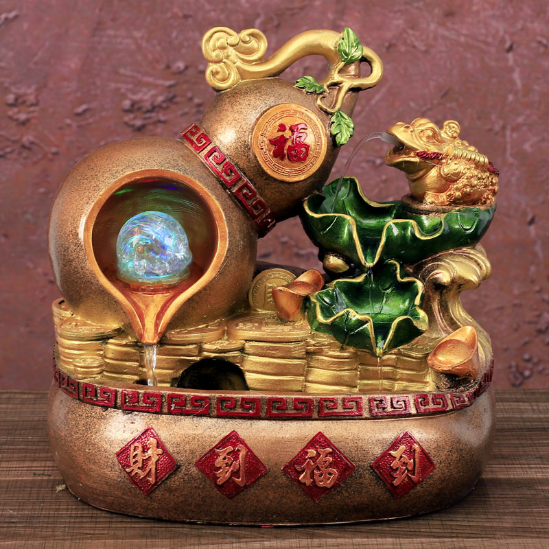 Resin Lotus Pond Water Fountain Lucky Feng Shui Good Fortune Gourd Gold Toad Waterscape Indoor Humidifier Company Opening Gifts Figurines Miniatures Aliexpress