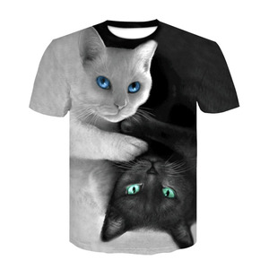 Новинка 2020, летняя трендовая Повседневная футболка для мужчин и женщин, 3D принт с животными, черно-белая кошка, индивидуальный круглый ворот...