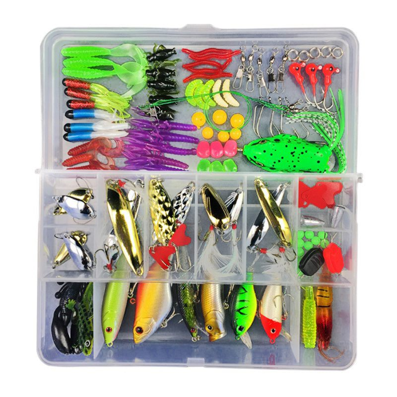 Spor ve Eğlence'ten Balıkçılık Yemleri'de 141 adet/kutu yapay balıkçılık Lures krank yemler kanca Minnow yemler olta takımı Minnow Popper Spinner kaşık Metal balıkçılık cazibesi seti title=