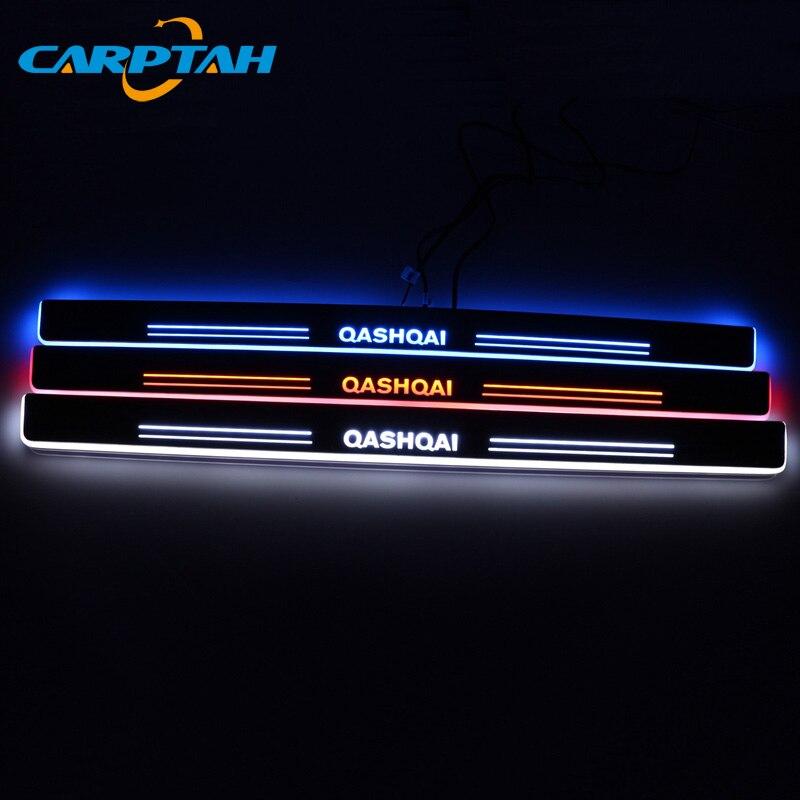 לקצץ חיצוני מכונית דוושת חלקי LED דלת אדן שפשוף צלחת מסלול סרט דינמי אור עבור ניסן הקאשקאי J10 J11 2008 -2018