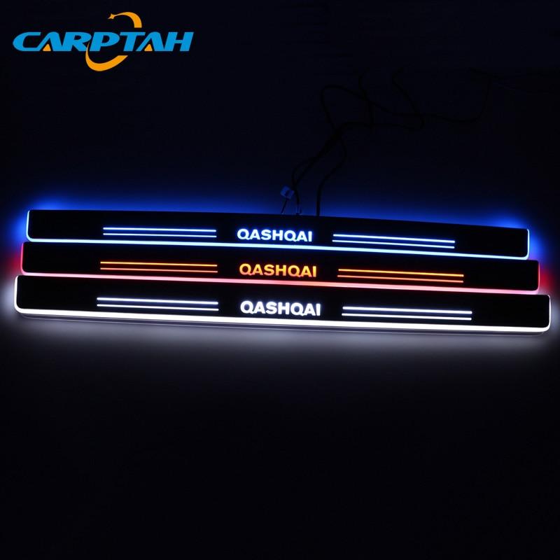Embellecedor Pedal piezas exteriores de coche LED Umbral de puerta placa de desgaste camino Streamer dinámico luz para Nissan Qashqai J10 J11 2008-2018