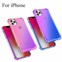 For iPhone 11 Pro Max Case Glossy Gradient Colorful Transparent Ultra thin Soft Silicone Phone for Cover Funda