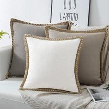 Luxo capa de almofada 45x4 5/30x5 0/50x50cm fronha de linho para sala de estar lance capa de almofada com laço para decoração de cadeira de assento de carro