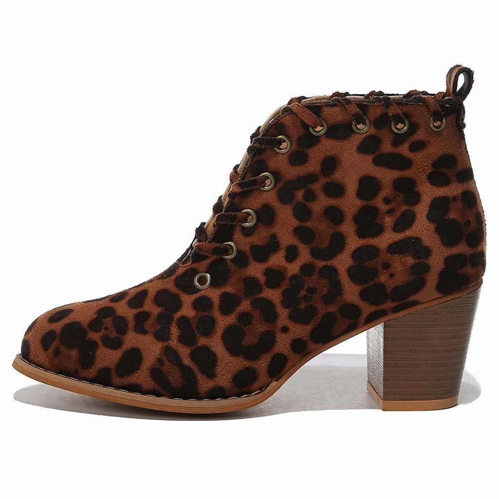 Botas de tobillo para mujer moda Retro Vintage sexy encaje-Up botas de leopardo Casual de gran tamaño Flock botas individuales botas de mujer