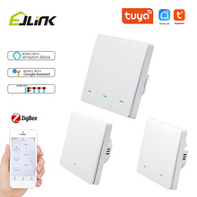 EJLINK Zigbee Push Button Switch No Neutral Wire APP Remote Control Smart Light Switches Works with Alexa Interruptor