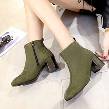Women Suede Ankle Boots Fashion Square root heels Stitching Solid Color Zipper Boots Plus Velvet Keep Warm Autumn Ankle Boots(China)