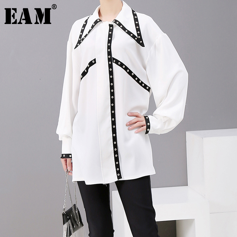 [EAM] Women Rivet Spliced Causal Blouse New Lapel Long Sleeve Loose Fit Shirt Fashion Tide All-match Spring Autumn 2020 1A177