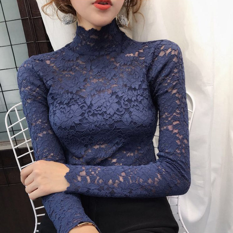 Plus Size Women Lace Blouses Shirts Sexy Hollow Out Long Sleeve Solid Blouse Lady Elegant Floral Embroidery Elastic Shirt Tops