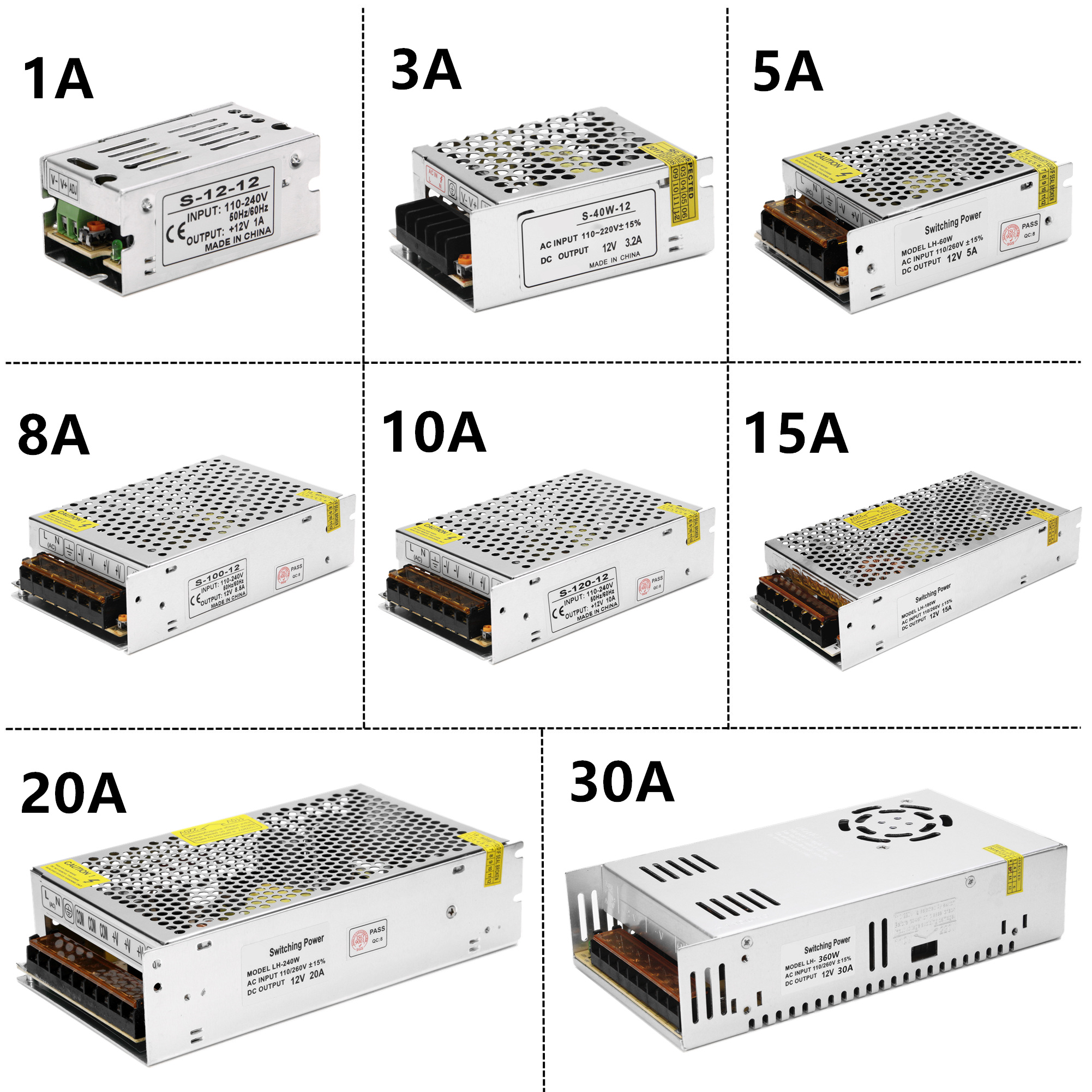 LED Strip Switching Power Supply Adapter 1A  3A 5A 8A 10A 15A 20A 30A Lighting Transformer AC100V-240V To DC12V