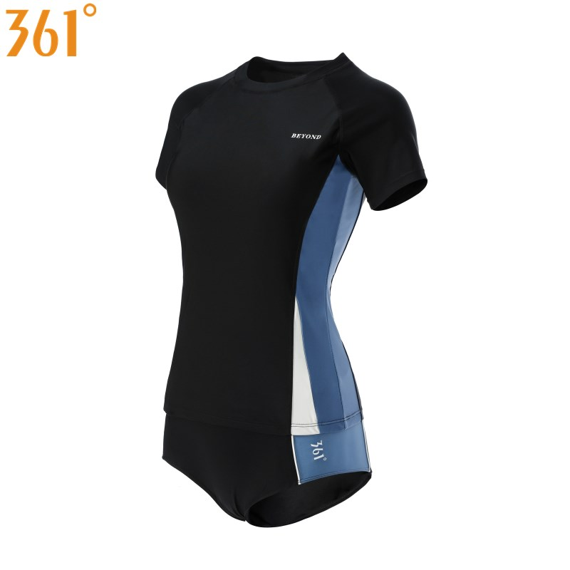 361 Two Pieces Swimsuit For Women Youth Sports Swimwear Tankini Bathing Suits For Surfing Boy Leg Shorts Short Sleeve Beach Pool
