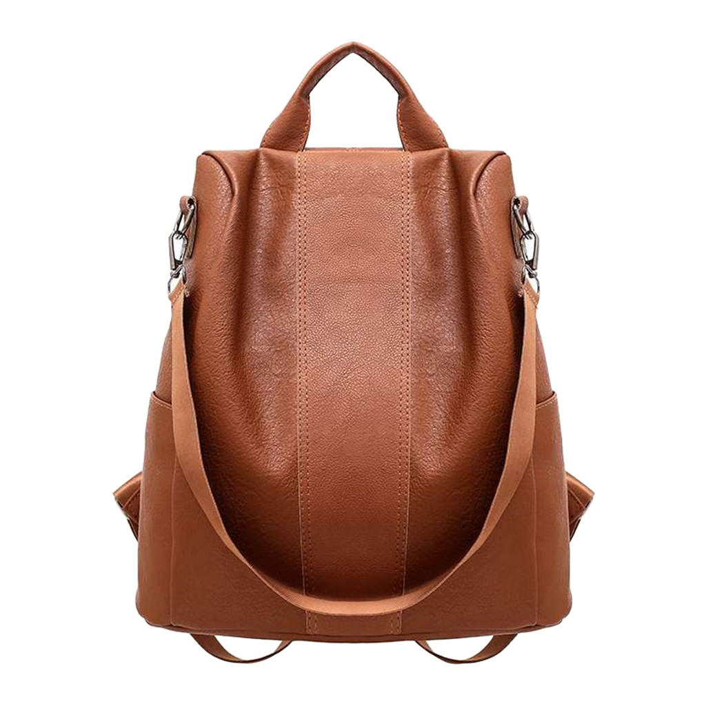 New Casual Womens Leather Elegant Backpack Anti-Theft Rucksack Vintage School Shoulder Black/Brown Bag