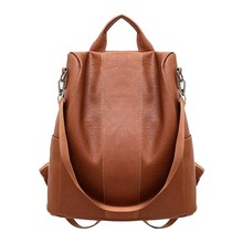 New Casual Womens Leather Elegant Backpack Anti-Theft Rucksa