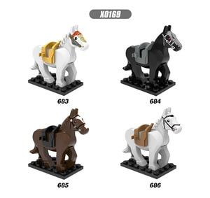 Horse Building Blocks Wild Animal Figure Set Military SWAT MOC Accessories Big Building Blocks Sets Kits Bricks Toys(China)