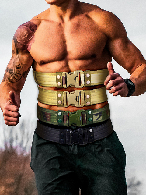 Army Style Combat Belts Quick Release Tactical Thickened Widen Belt Fashion Men Canvas Waistband Outdoor Hunting Accessories 6