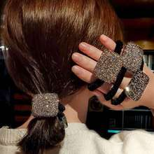 Flash wiertarka prosta głowa lina Temperament pełna wiertarka stroik netto czerwony Ins do związywania włosów lina jak gumka kobieta gumka do włosów tanie tanio CN (pochodzenie) NYLON WOMEN Dla dorosłych Nakrycia głowy Elastyczne opaski do włosów Moda Stałe