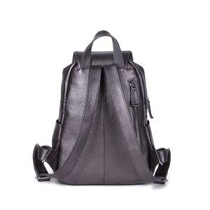 Image 3 - ZENCY 2020 mochila bonita 100% cuero de vaca genuino suave mujer capa superior de piel de vaca chica mochila escolar mochila