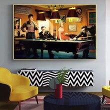 Filme clássico elvis presley humphrey bogart jogar bilhar quadros em tela cartazes imagem da parede cuadros para sala de estar
