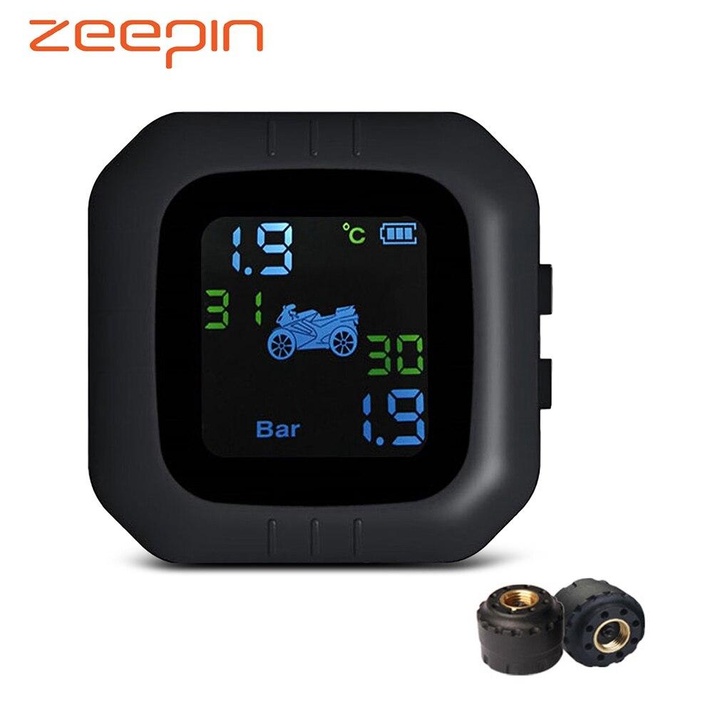 Sem fio LCD Motocicleta 2 Sensor Externo TPMS do Sistema de Monitoramento da Pressão Dos Pneus Em Tempo Real Monitor de Alarme Anormal Moto Ferramenta de Pneu PSI