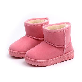 Winter Children Snow Boots For Boys Fur Shoes Girls Mid-calf Fashion Baby Boots Thick Warm Cotton-padded Suede Buckle Kids Boots tanie i dobre opinie Flock Z tworzywa sztucznego 19-24 M 2-3Y 4-6Y 7-9Y 10-12Y Zima Buty śniegu Szycia Mieszkanie z Pluszowe Unisex ANKLE Pasuje prawda na wymiar weź swój normalny rozmiar