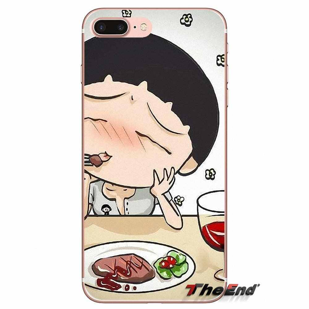Trasparente Morbido Custodie Coperture Chibi Maruko Chan Arte Per il iphone di Apple X 4 4S 5 5S SE 5C 6 6S 7 8 Più di 6sPlus 6Plus 7plus 8 più