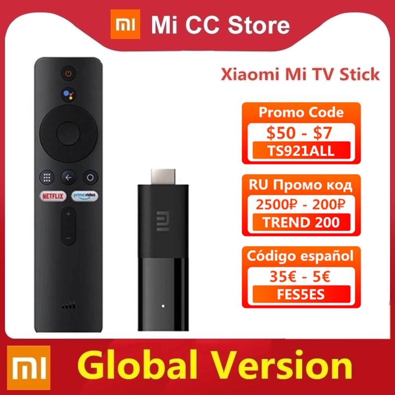 Global Version Xiaomi Mi TV Stick Android TV 9.0 Smart 2K HDR 1GB RAM 8GB ROM Bluetooth 4.2 Mini TV Dongle Wifi Google Assistant(China)