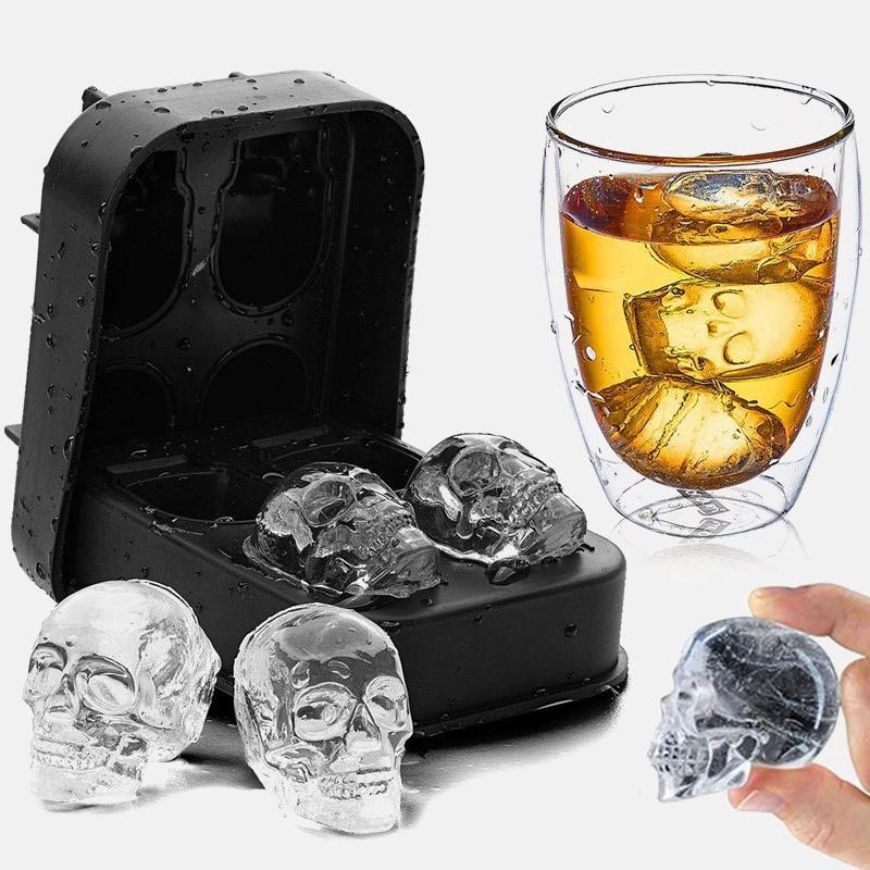 3D Schädel Silikon Mold Ice Cube Maker Schokolade Schimmel Fach Eis DIY Werkzeug Whisky Wein Cocktail Ice Cube Beste verkäufer