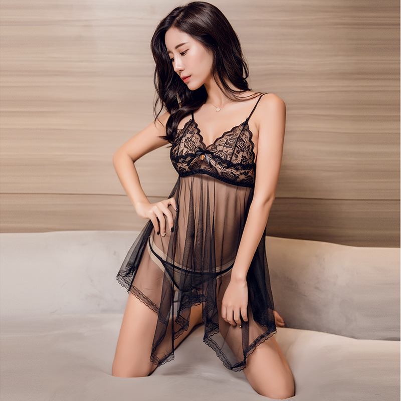 Sexy Nightdress Lace Hollow Lingerie Set Women Girl Erotic Sex Erotic Lingerie  Bra Set Perspective Halter Large Size 7 Colors