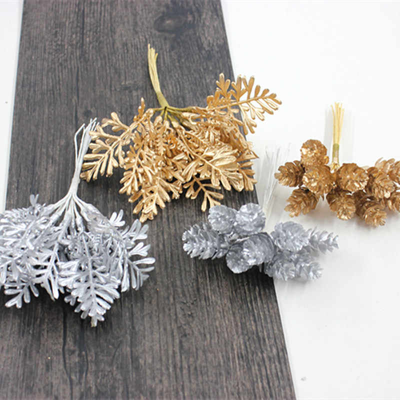10pcs Christmas Decoration Accessories Gold Silver Pine Cone Leaf DIY Handmade Gift Box Decoration Artificial Flower