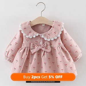 NEW Newborn Infant Baby Girls Kids Winter Dress Kids Christmas Floral Cherry Dot Cotton Bow Dress Outfits Set Clothes