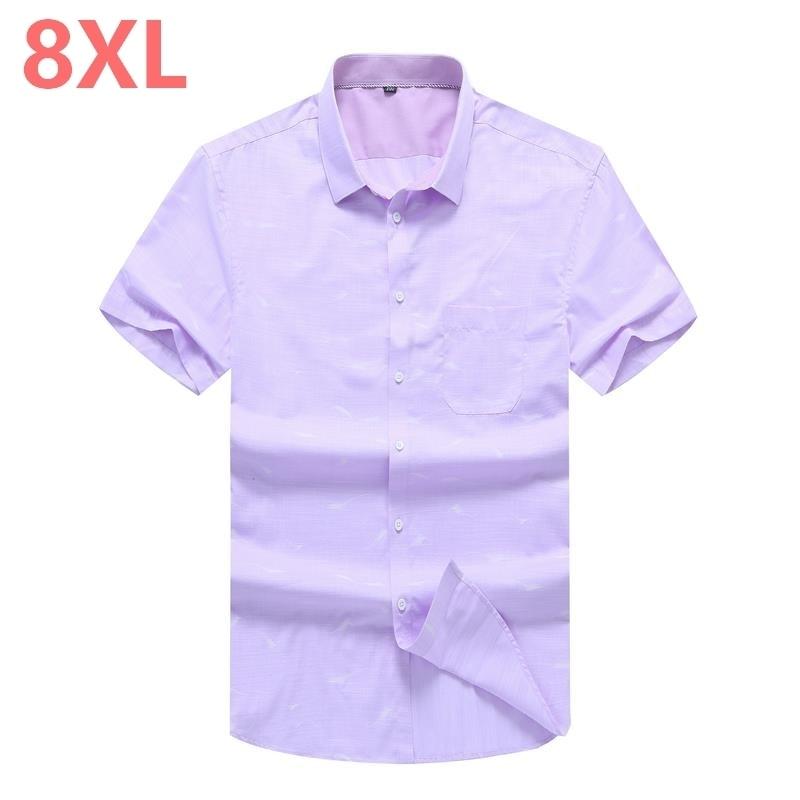Plus Size 10XL 8XL 6XL 5XL Summer Men Shirt High Quality Short Sleeve Fashion Floral Printing Man Shirts Brand Male Dress Shirt