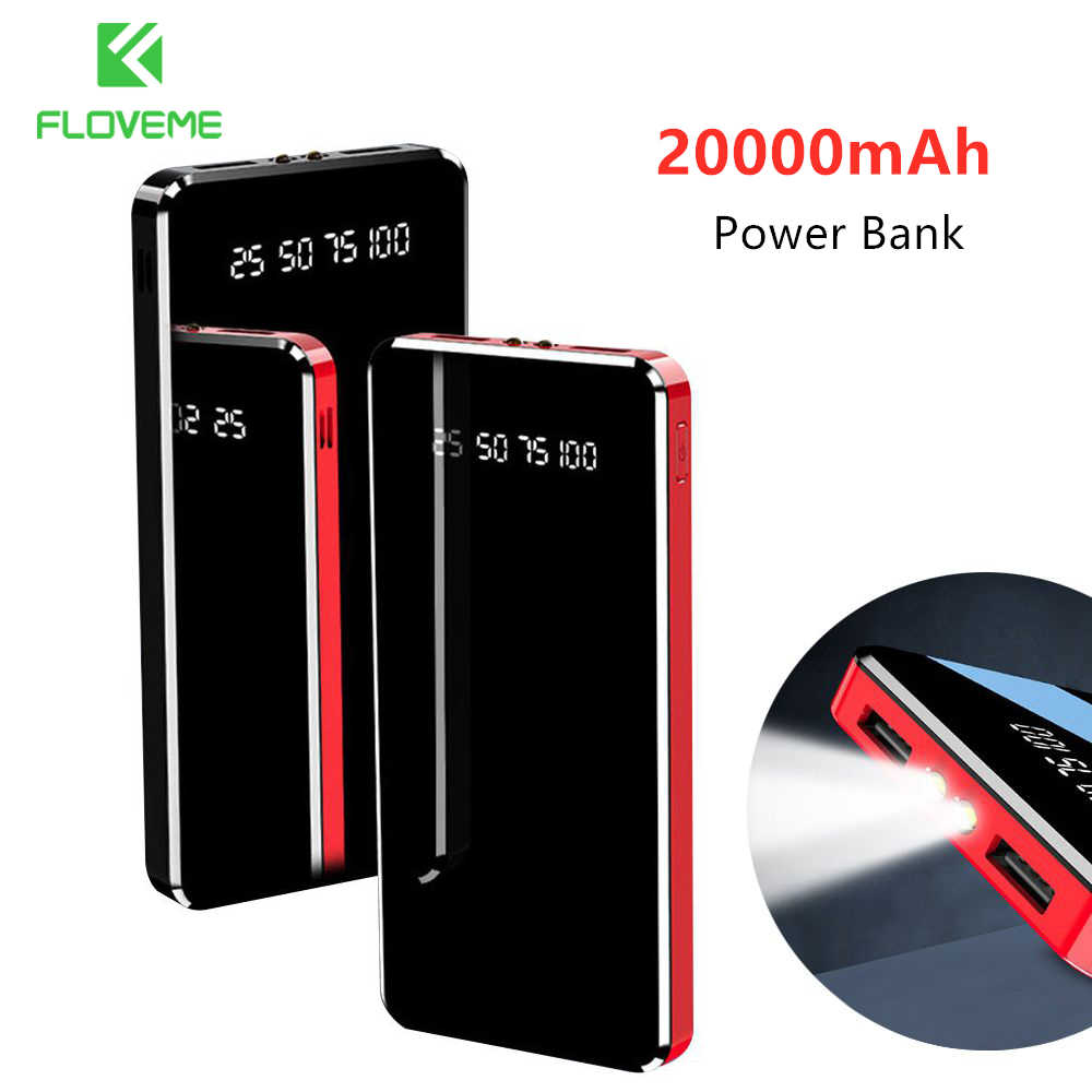 Spiegel 20000 mAh Power Bank LED Digital Display Tragbare Externe Batterie Ladegerät 10000mAh Power Für iPhone 11 7 8 xiaomi Mi