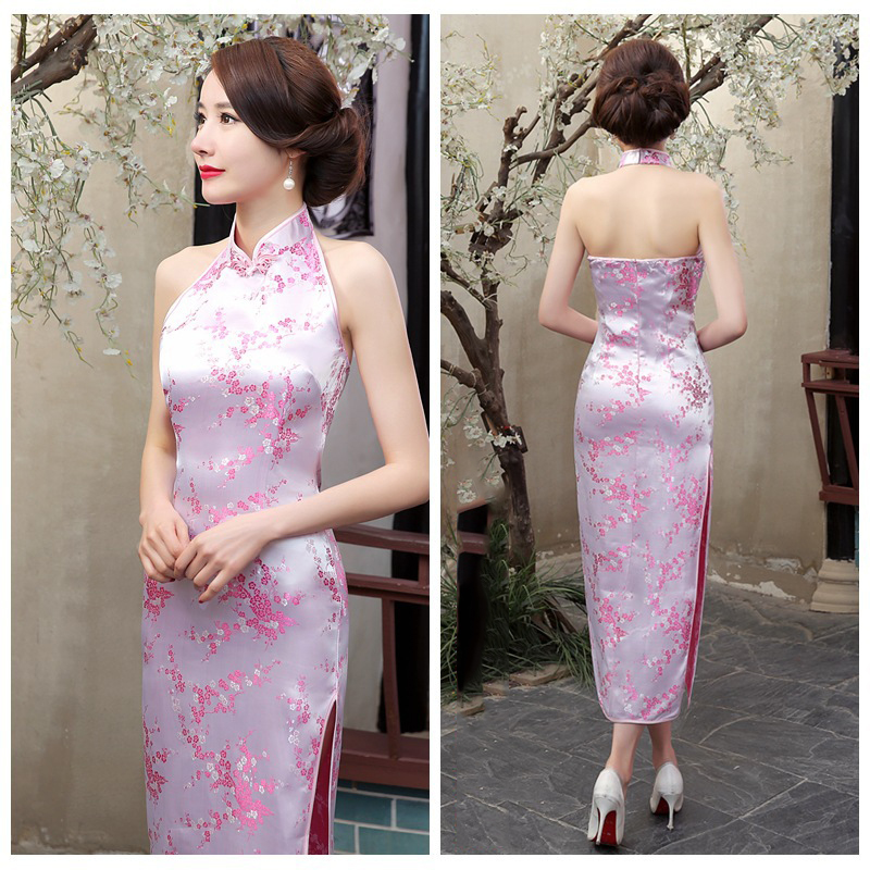 Backless Classic Chinese Women Qipao Rayon Sexy Cheongsam Traditional Sleeveless Evening Party Gowns Dresses Vestidos Elegant