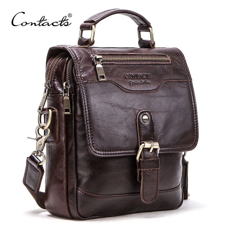 CONTACT'S Genuine Leather men message bags for 7.9in iPad vintage travel handbag zipper Metal buckle Business male Shoulder bag| | - AliExpress