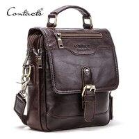 CONTACT'S-Bolso de piel auténtica para hombre, bolsa de mensajes para iPad de 7,9 pulgadas, Vintage, de viaje, con cremallera del bolso, hebilla de Metal, bolso de hombro masculino de negocios
